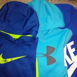 🙊Lot of 3 Boys Nike & Under Armour Hoodies🙊